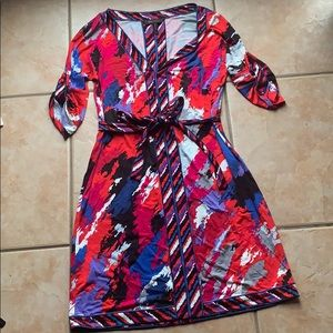 BCBGmaxazria Red Abstract Print Stretch Dress XS
